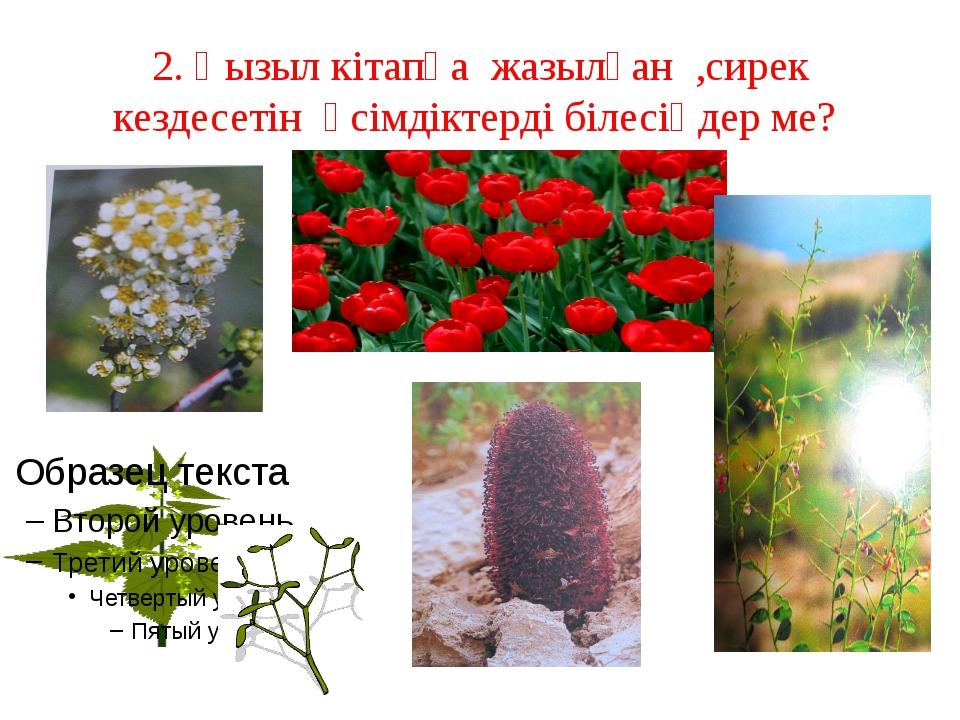 2. Қызыл кітапқа жазылған ,сирек кездесетін өсімдіктерді білесіңдер ме?