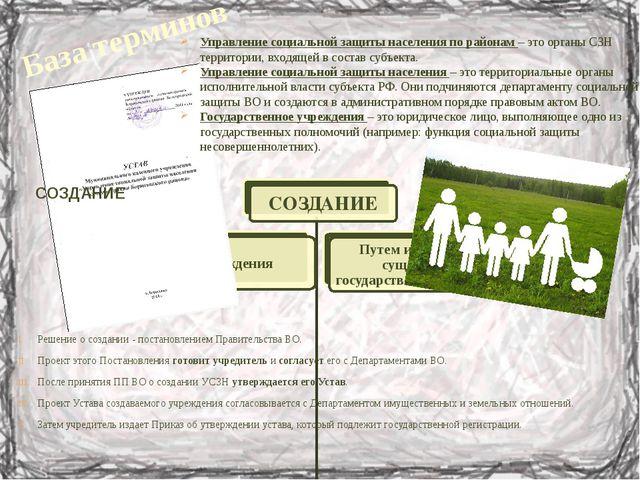 База терминов Управление социальной защиты населения по районам – это органы...