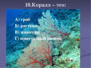 10.Коралл – это: А) гриб Б) растение В) животное Г) известковый камень