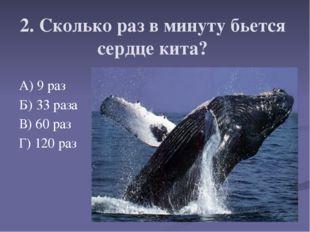 2. Сколько раз в минуту бьется сердце кита? А) 9 раз Б) 33 раза В) 60 раз Г)