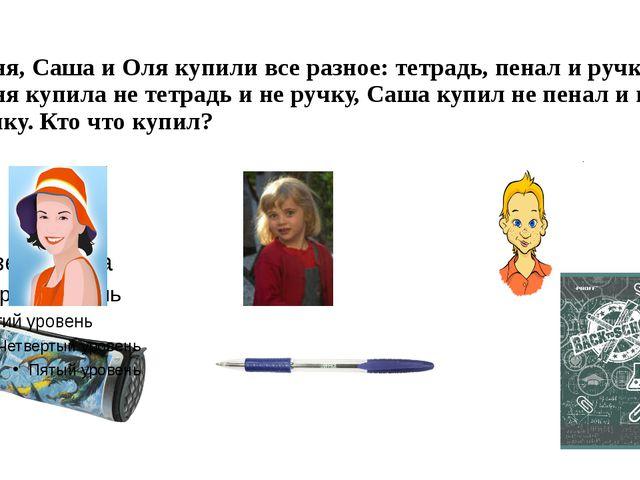 Таня, Саша и Оля купили все разное: тетрадь, пенал и ручку. Таня купила не те...