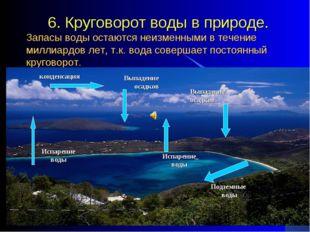 6. Круговорот воды в природе. Запасы воды остаются неизменными в течение мил