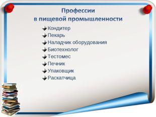 Кондитер Пекарь Наладчик оборудования Биотехнолог Тестомес Печник Упаковщик Р