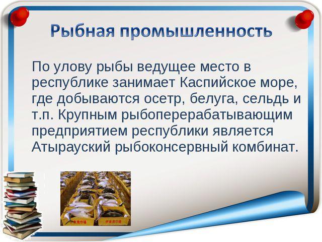 По улову рыбы ведущее место в республике занимает Каспийское море, где добыв...