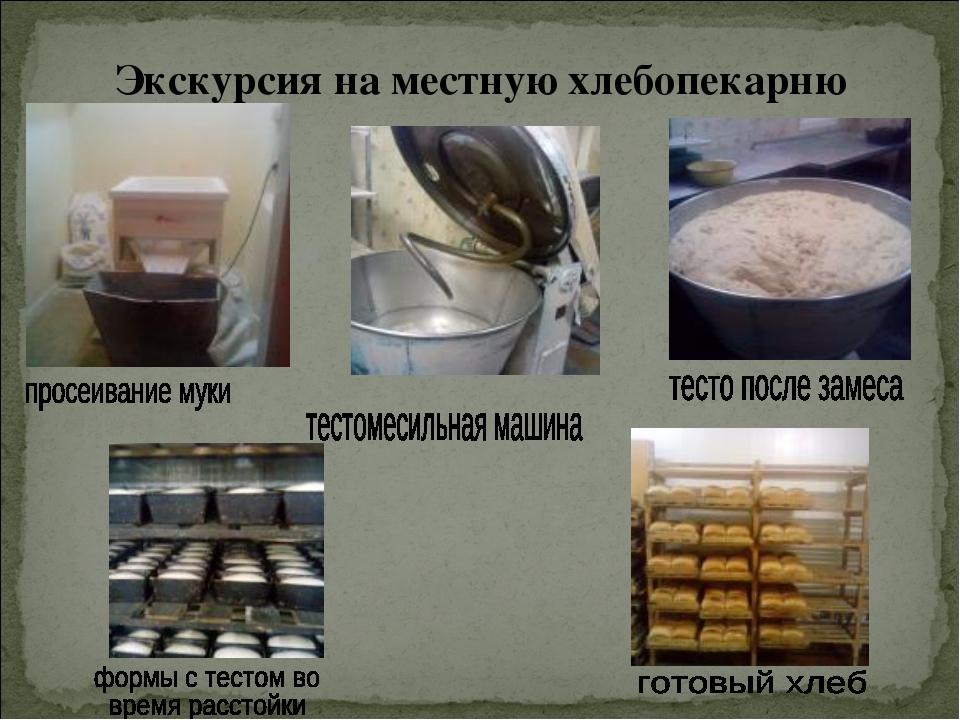 Экскурсия на местную хлебопекарню