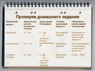 Проверка домашнего задания Физический процесс Формула для расчета количества