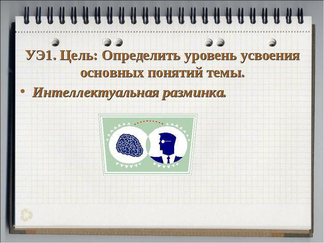 УЭ1. Цель: Определить уровень усвоения основных понятий темы. Интеллектуальна...