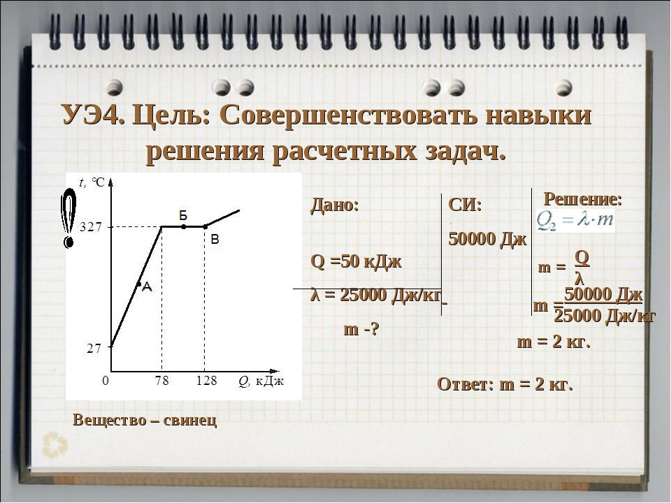 УЭ4. Цель: Совершенствовать навыки решения расчетных задач. Вещество – свинец...