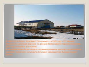 В 1999 году в Андеге проживало 254 человека, а в 2005 году – 201 человек. Чис