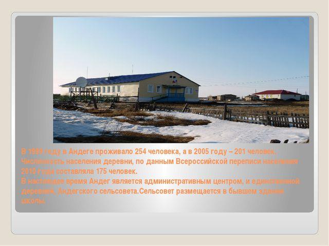 В 1999 году в Андеге проживало 254 человека, а в 2005 году – 201 человек. Чис...
