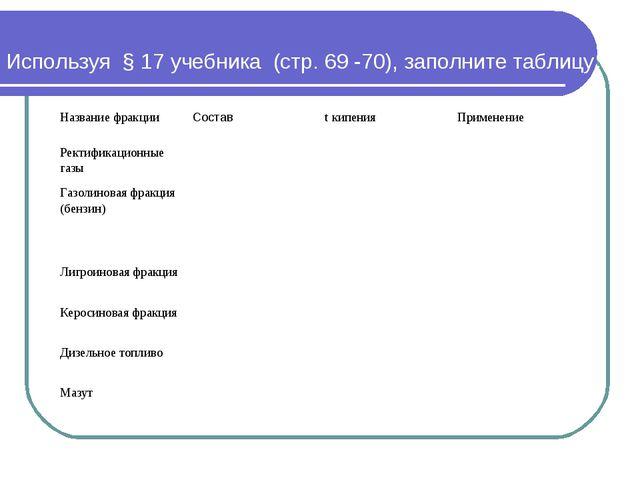 Используя § 17 учебника (стр. 69 -70), заполните таблицу: Название фракции...