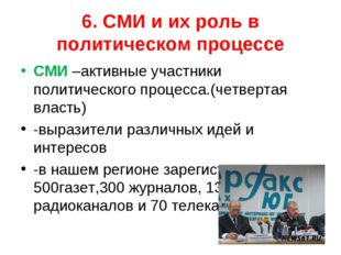6. СМИ и их роль в политическом процессе СМИ –активные участники политическог