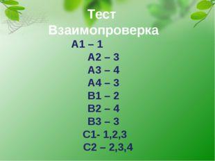 Тест Взаимопроверка А1 – 1 А2 – 3 А3 – 4 А4 – 3 В1 – 2 В2 – 4 В3 – 3 С1- 1,2,
