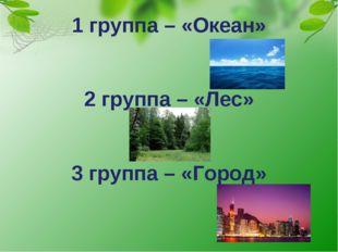 1 группа – «Океан» 2 группа – «Лес» 3 группа – «Город»