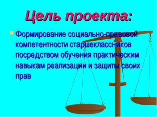 Цель проекта: Формирование социально-правовой компетентности старшеклассников