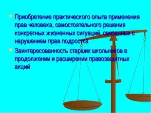 Приобретение практического опыта применения прав человека, самостоятельного р