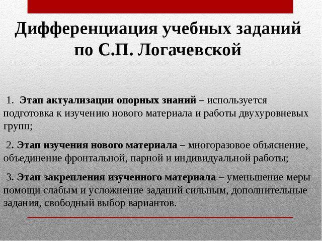 Дифференциация учебных заданий по С.П. Логачевской 1. Этап актуализации опорн...
