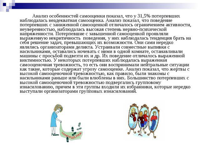 Анализ особенностей самооценки показал, что у 31,5% потерпевших наблюдалась...