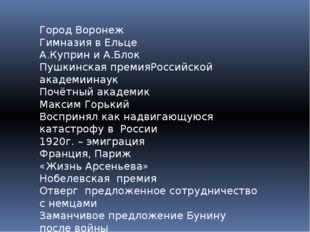 Город Воронеж Гимназия в Ельце А.Куприн и А.Блок Пушкинская премияРоссийской