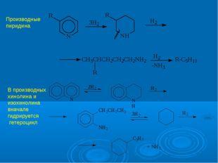 Производные пиридина В производных хинолина и изохинолина вначале гидрируется