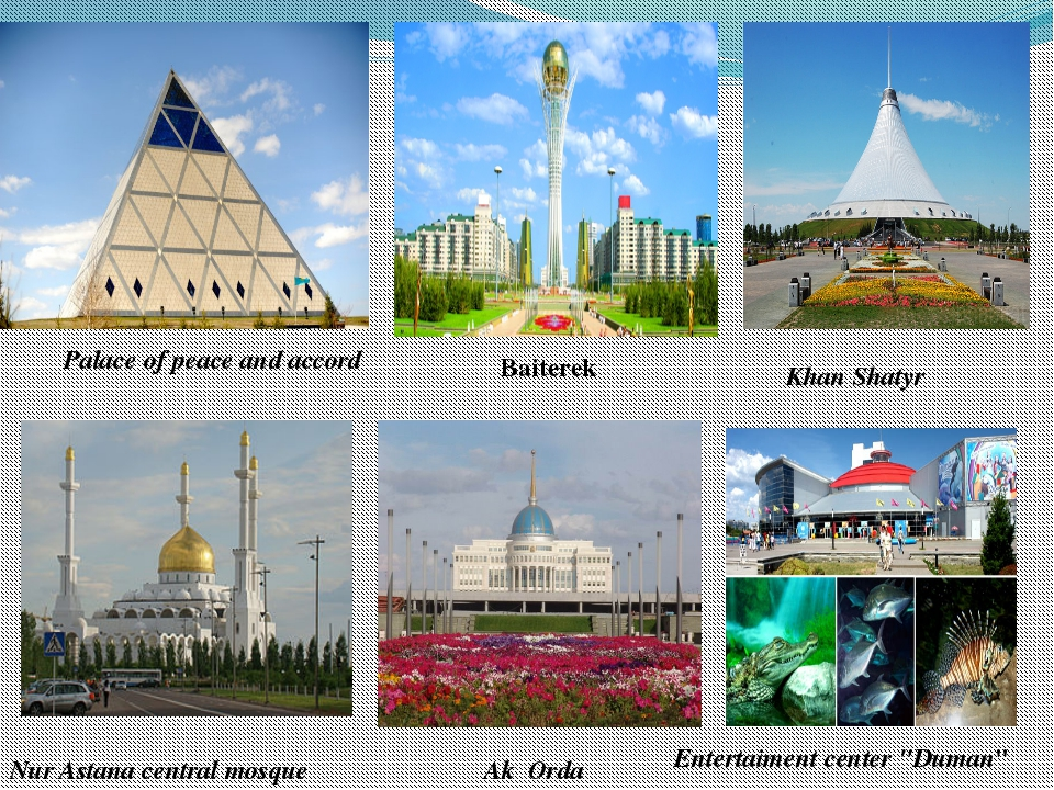 "Entertaiment center ""Duman"" Baiterek Nur Astana central mosque Khan Shatyr Ak..."