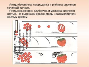 Ягоды брусничка, смородинка и рябинка рисуются печаткой-тычком. Ягоды крыжов