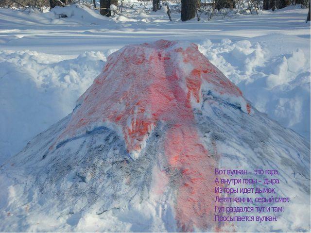 Вот вулкан – это гора, А внутри горы – дыра. Из горы идет дымок, Летят камни,...