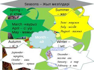Winter – қыс Summer – жаз Autumn – күз Spring – көктем Seasons – Жыл мезгілде