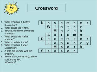 ff Crossword What month is it before December? What season is it now? In what