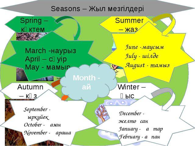 Winter – қыс Summer – жаз Autumn – күз Spring – көктем Seasons – Жыл мезгілде...