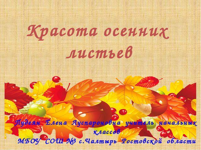 Красота осенних листьев Пудеян Елена Луспароновна учитель начальных классов М...