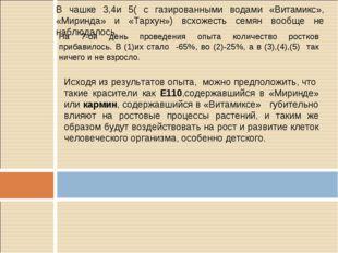 В чашке 3,4и 5( с газированными водами «Витамикс», «Миринда» и «Тархун») всхо