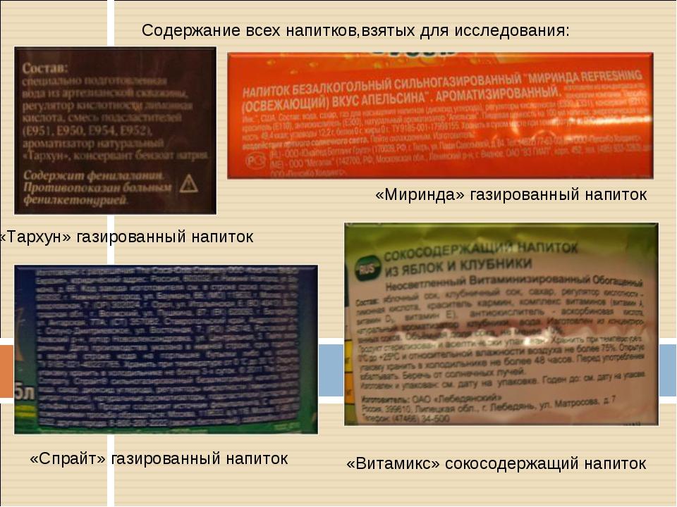 Содержание всех напитков,взятых для исследования: «Миринда» газированный напи...