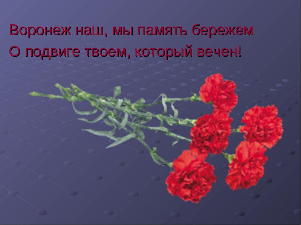 Воронеж наш, мы память бережем О подвиге твоем, который вечен!