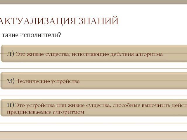 АКТУАЛИЗАЦИЯ ЗНАНИЙ 3. Кто такие исполнители?