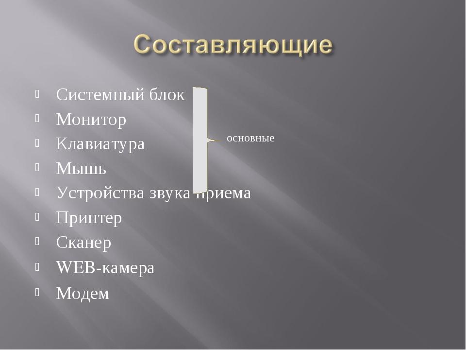 Системный блок Монитор Клавиатура Мышь Устройства звука приема Принтер Сканер...