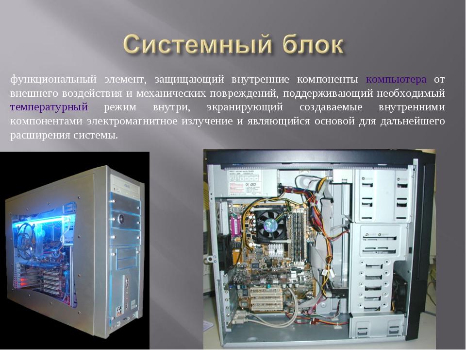 функциональный элемент, защищающий внутренние компоненты компьютера от внешне...