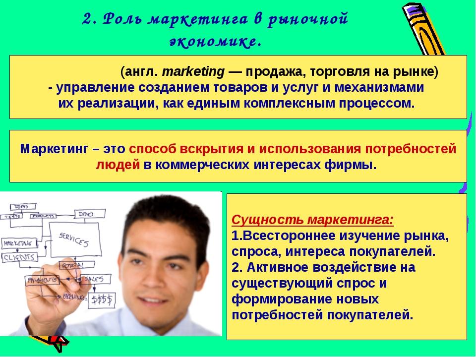 2. Роль маркетинга в рыночной экономике. Ма́рке́тинг (англ. marketing— прода...