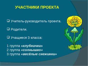УЧАСТНИКИ ПРОЕКТА Учитель-руководитель проекта. Родители. Учащиеся 3 класса: