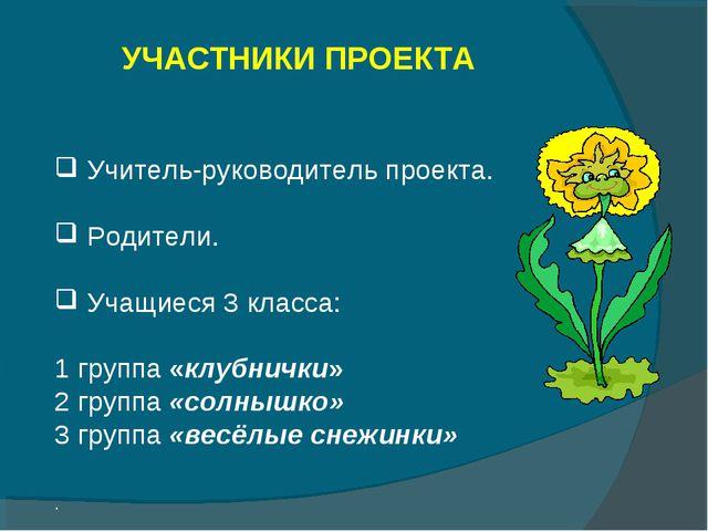 УЧАСТНИКИ ПРОЕКТА Учитель-руководитель проекта. Родители. Учащиеся 3 класса:...