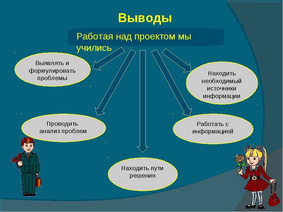 Работая над проектом мы учились Выявлять и формулировать проблемы Находить пу...