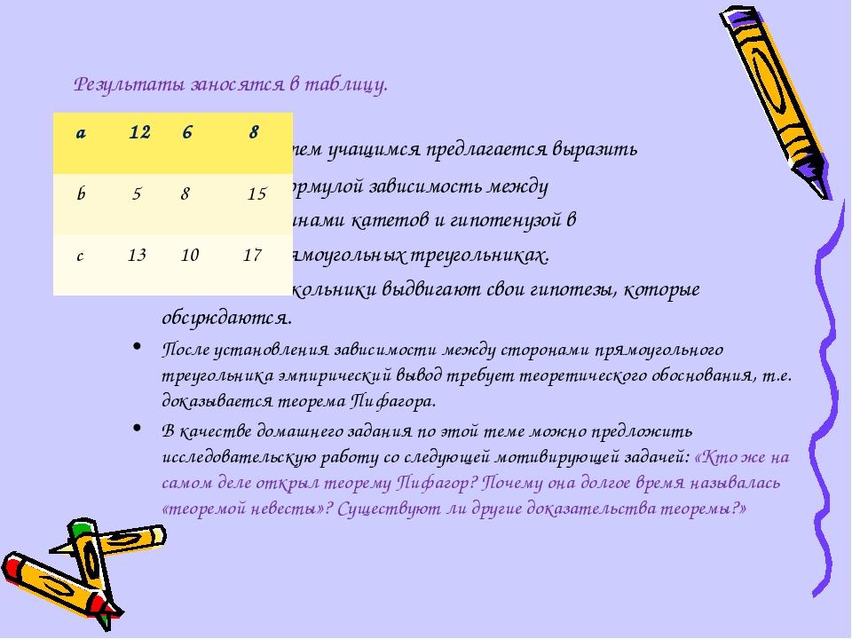 Результаты заносятся в таблицу. Затем учащимся предлагается выразить формуло...