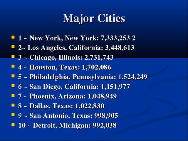 Major Cities 1 ~ New York, New York: 7,333,253 2 2~ Los Angeles, California:...