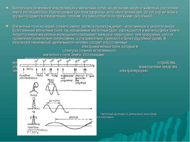 Биологическое влияние электрических и магнитных полей на организм людей и жив...