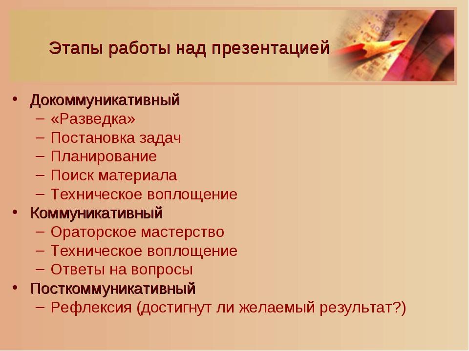 Этапы работы над презентацией Докоммуникативный «Разведка» Постановка задач П...