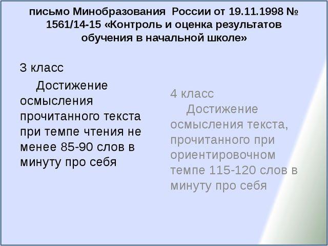 письмо Минобразования России от 19.11.1998 № 1561/14-15 «Контроль и оценка ре...