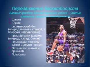 Передвижение баскетболиста Важный фактор для достижения успеха – умение измен