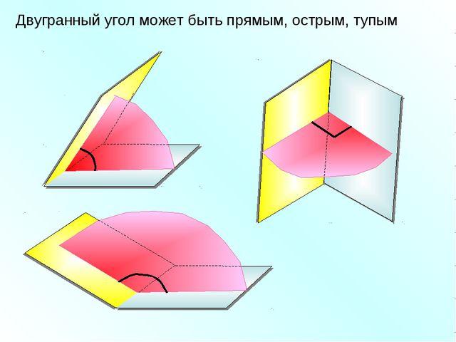 Двугранный угол может быть прямым, острым, тупым