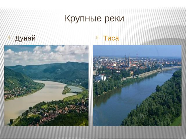 Крупные реки Дунай Тиса