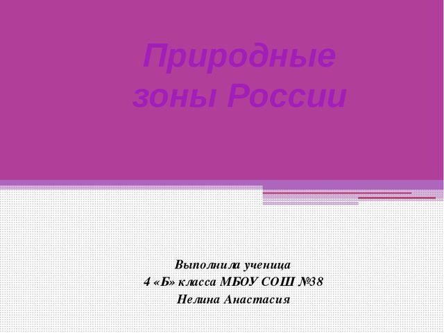 Выполнила ученица 4 «Б» класса МБОУ СОШ №38 Нелина Анастасия Природные зоны Р...